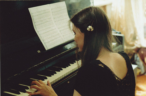 brunette, girl, gril, notes, piano, playing, vintage