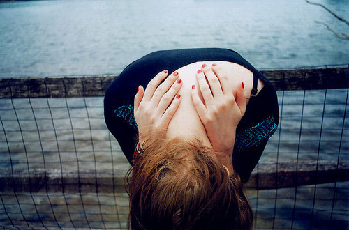 brunette, girl, hands, sad, sea