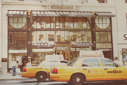 buildings, cab, cabs, city, new york, new york city, nyc, photography, sephora, taxi, yellow cabs