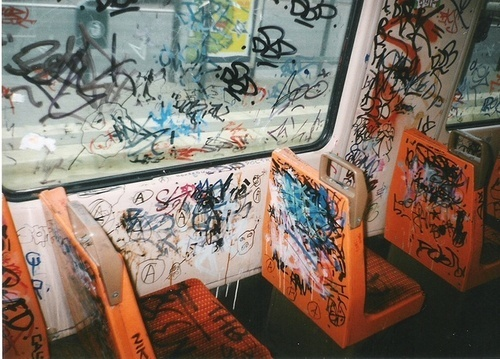 bus, grafitti, marker, pen, seats