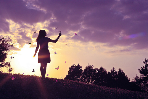 butterflies, clouds, girl, nature, outdoors