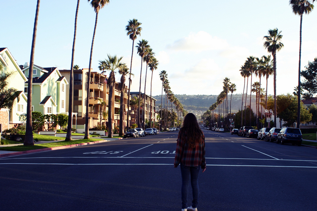 california, girl, street, summer, trees