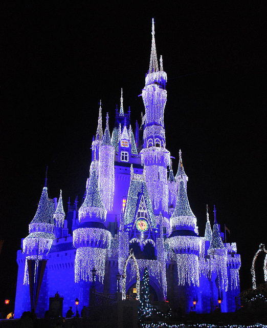castle, disney, lights, magic kingdom, night