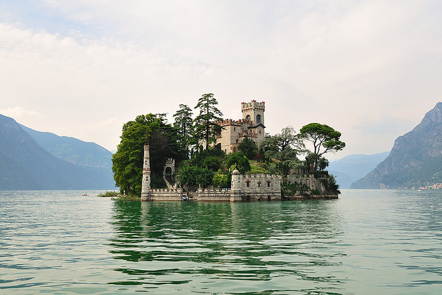 castle, island, lake, landscape, nature
