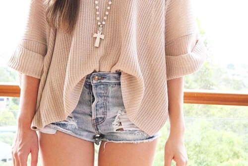 casual fashion, cross necklace, girl, hipster, shorts