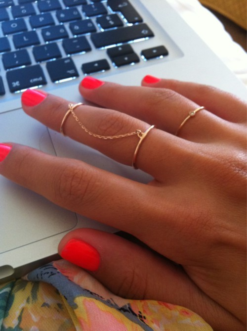 chains, fashion, fluor, fluorescent, girl, gold, golden gold, hand, jewelery, keyboard, nail, nailpolish, nails, note, notebook, orange, pink, polish, polish nail, ring, rings, style