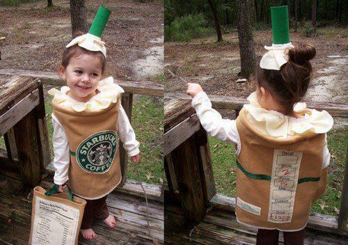 child, coffe, cute, disguise, kid, kids, little girl, starbucks, sweet