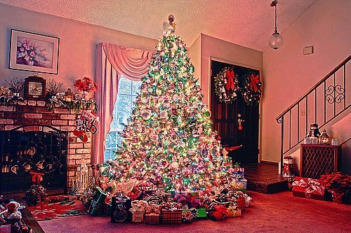 christmas, christmas tree, lights, presents, santa claus