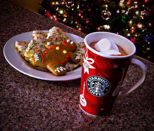 christmas, coffee, cookies, cute, gingerbread, starbucks, tree