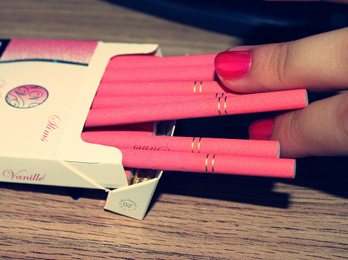 cigarettes, cool, girl, pink, smoke, style