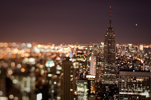 city, empire state building, glitter, lights, new york, night, photography, sky scraper