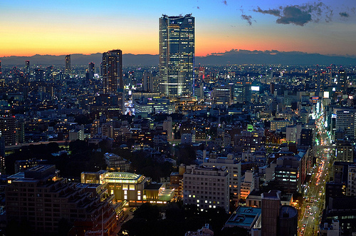 city, japan, lights, night, photography, sunset, tokyo