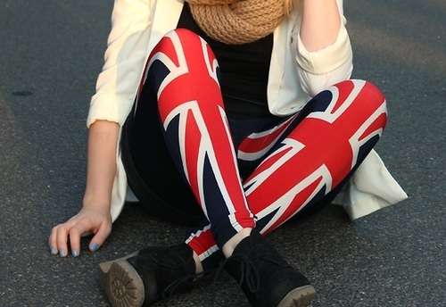 clothes, fashion, flag, girl, leggings, street, style, union jack, united kingdom
