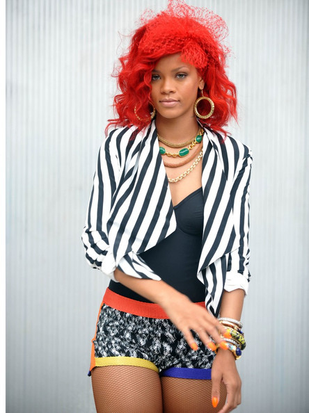 color, colorful, dress, fashion, hair, red, rihanna
