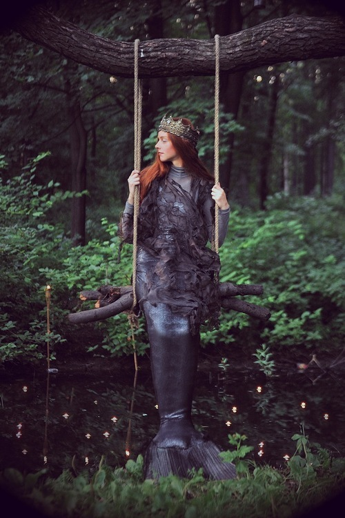 costume, crown, green, greenery, mermaid, photography, queen, siren, swing, whimsical