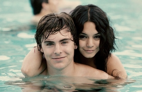 couple, cute, love, vanessa hudgens, water, zac efron
