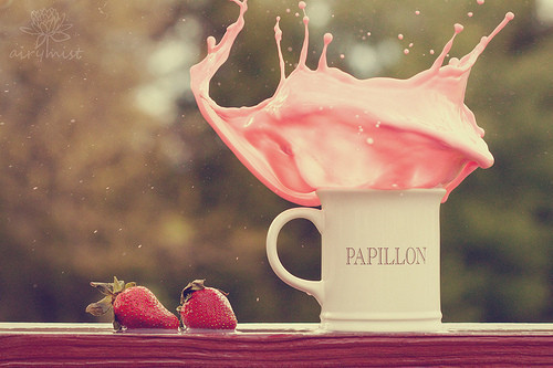 cup, food, papillon, photography, pink, red, strawberry, vintage, white