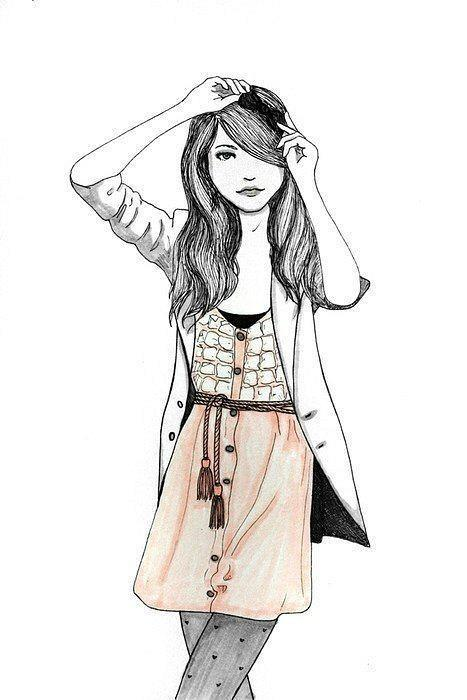 Clothes In Nanopics Black Colored Draw Drawing Fashion Girl Illustration Lines Pen