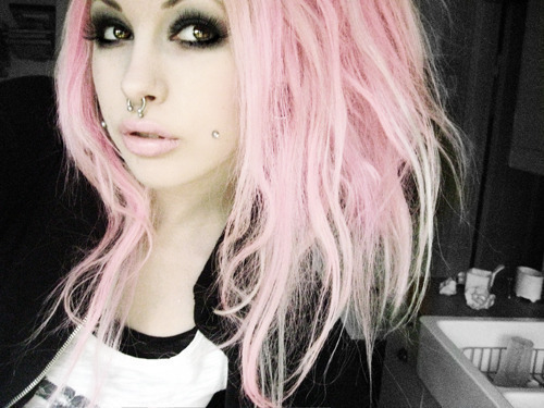 cute, eyelashes, eyes, girl, hair, hot, lips, make up, makeup, piercing, pink hair