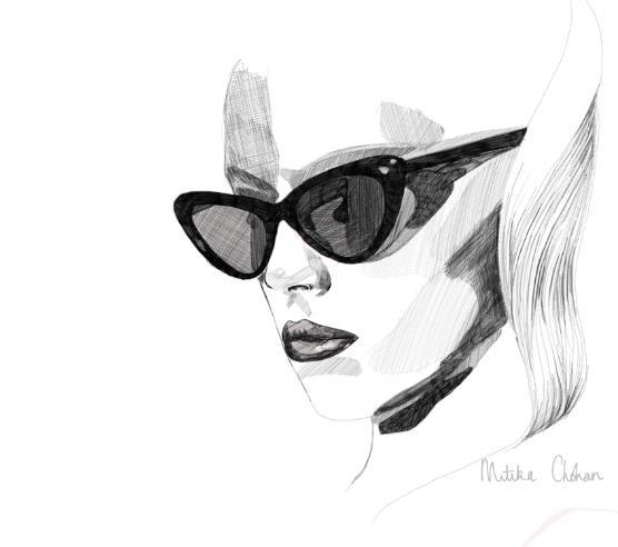 diva, fashion, girl, glasses, illustration, lips, mitika, mitika chohan, model, retro, shades, sketch, style