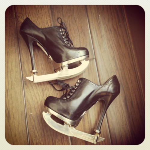 dsquared, figure skates, heels, ice, ice skates