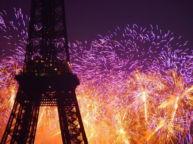 eiffel tower, fireworks, paris, purple