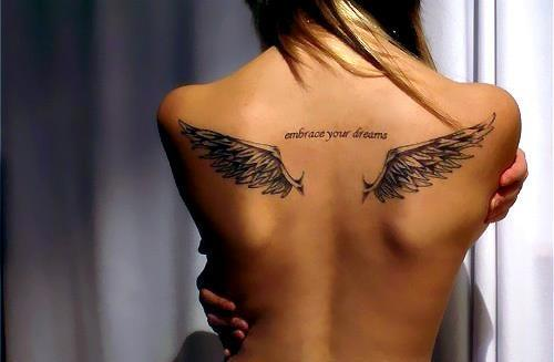 embrace your dreams, quote, tattoo, tattoo wings, text