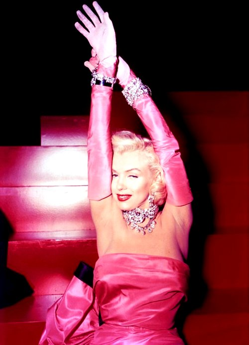 fashion, gentlemen prefer blondes, marilyn monroe, pink, vintage