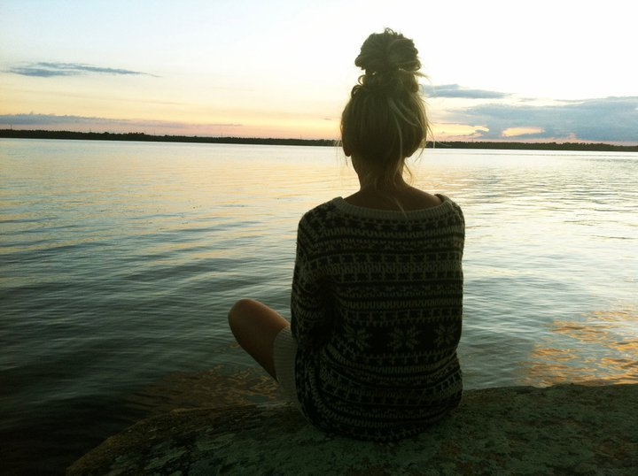 fashion, girl, hair, hairbun, lake
