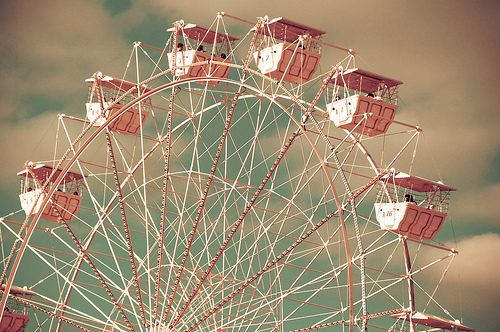 ferris wheel, pastel, photography, pink