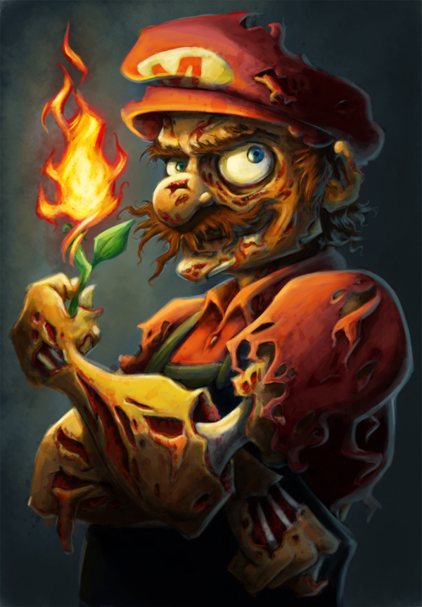 fire, mario, mustache, red, super mario, zombie