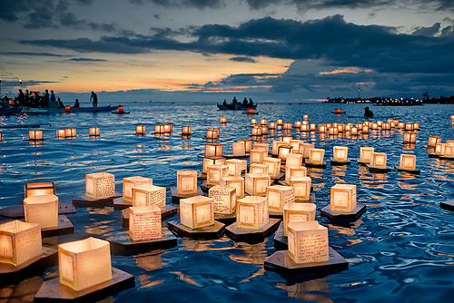 float, lanterns, water