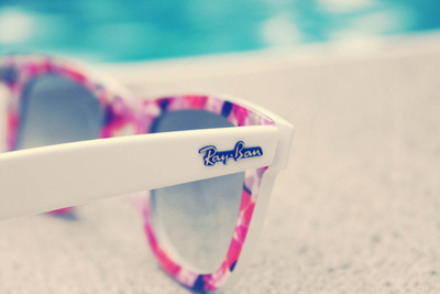 floral, glasses, pool, ray-ban, summer, sun, sunglasses, white