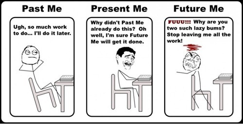 funny, future, past, present, text