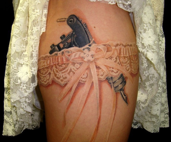 garter, girlie, tattoo
