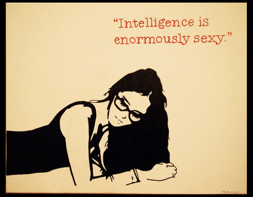 girl, illustration, intelligence, quote