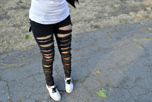 girl, jeans, legs, ripped jeans, shoes