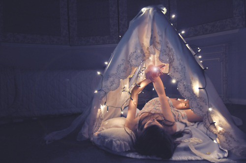 girl, lights, photography, pretty, sleep