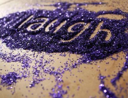 glitter, laughter, purple