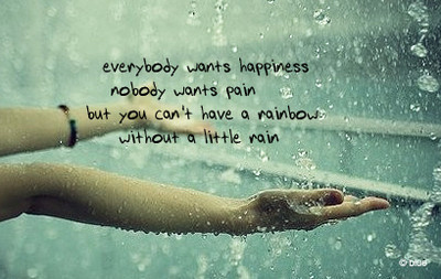 happiness, little rain, pain, rainbow
