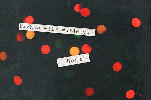 home, lights, note, quote, sentence, typography