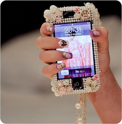 iphone, love, nail, nail art, nail polish, necklace, pearl, phone, pink, white