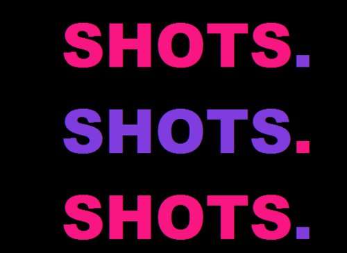 pink, purple, shots