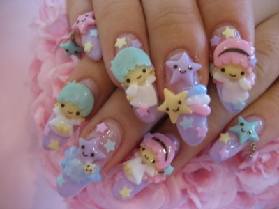 3d nails, kawaii, my little twin stars, nail art, nails
