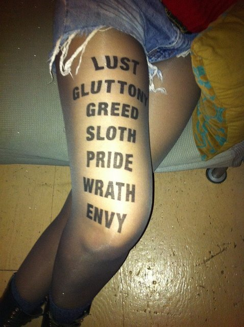 7 deadly sins, bow, envy, fashion, gluttony, greed, heart, hearts, legs, lust, pink, pride, seven sins, sloth, stockings, style, white, wrath