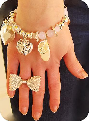 accessories, beautiful, bow, bracelet, cute, fashion, heart, hipster, love, luxus, peace, ring