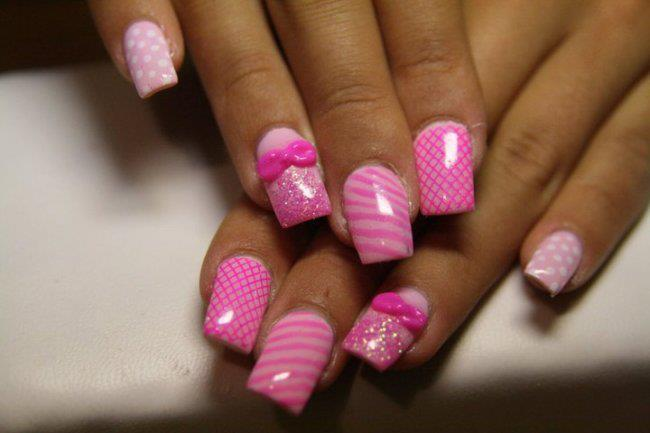 acrylics, bows, false nails, fishnet, pink - image #345140 on Favim