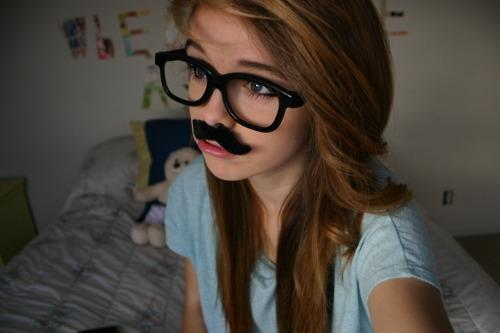 adorable, alternative, aww, brunette, cute, girl, glasses, gorgeous, hair, hair style, model, mustache