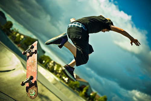 adorable, amazing, beautiful, blue, boy, clouds, cute, fashion, guy, image, jump, male, perfect, photo, photography, shoes, skate, sky, style
