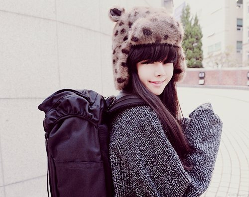 adorable, asian, aww, bag, brunette, cap, cute, fashion, girl, gorgeous, hair, lovely, photography, smile
